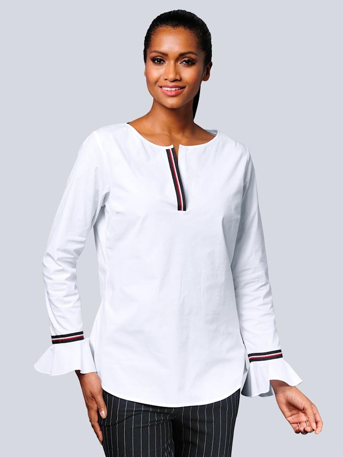 Alba Moda Bluse mit effektvoller Dekotapeverarbeitung, Weiß