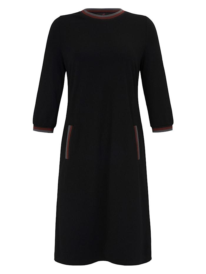Emilia Lay Jersey-Kleid mit 3/4-Arm, schwarz