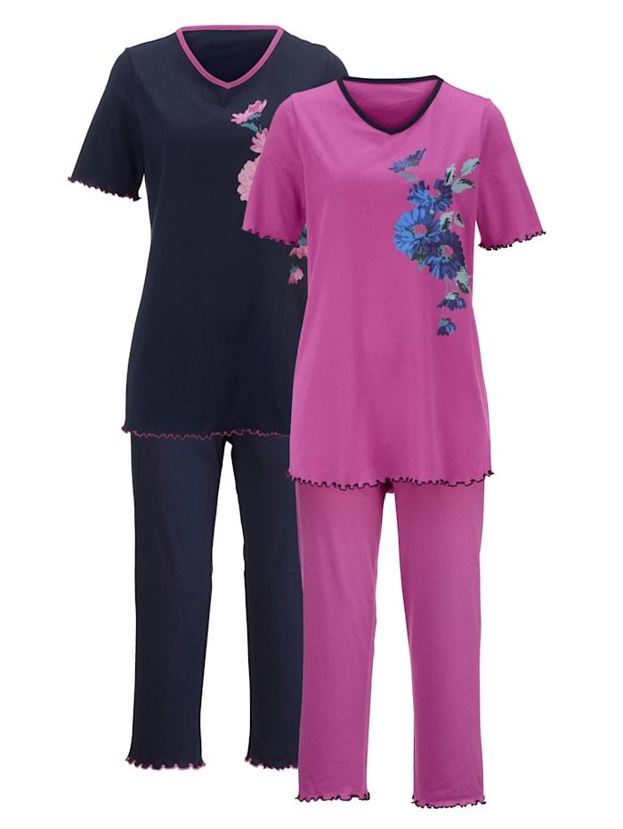 Harmony Pyjama's per 2 stuks met decoratieve contrastpaspels, Fuchsia/Marine