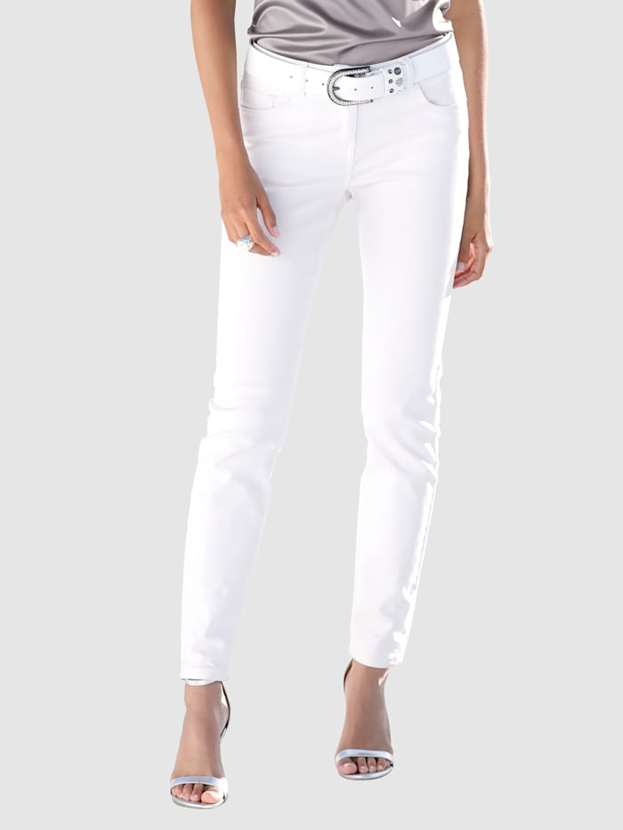 AMY VERMONT Jeans met subtielwashed effect, Wit