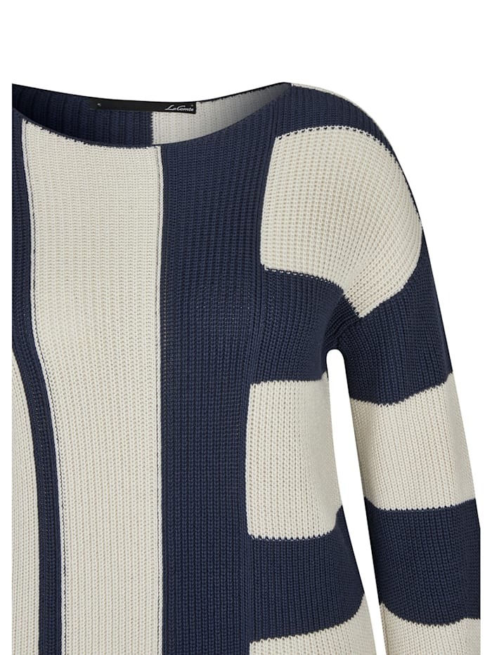 Pullover mit gestreiftem Muster und Rundhalsausschnitt