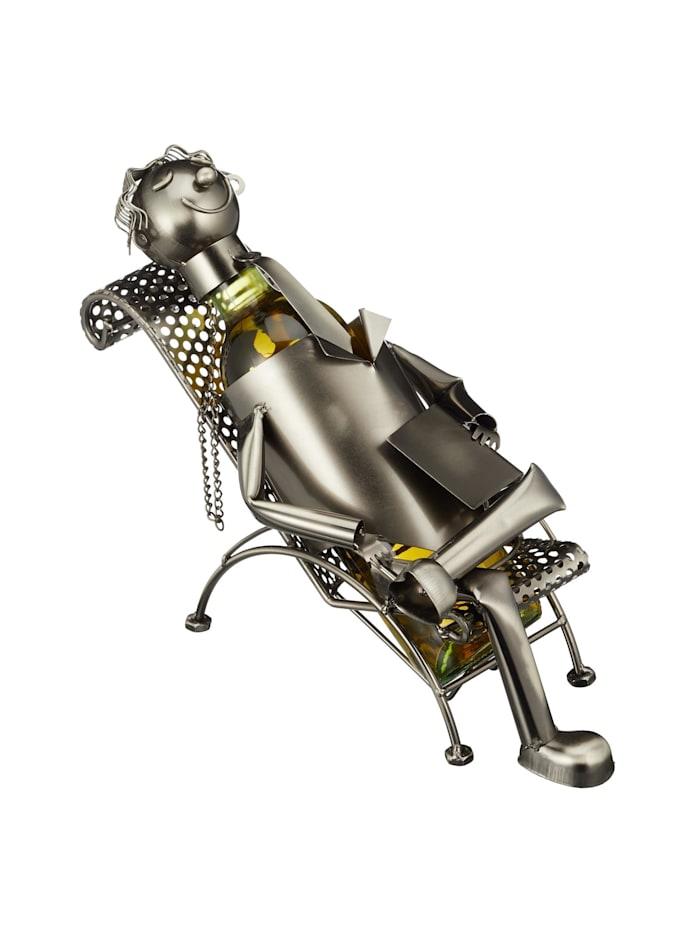 HTI-Living Weinflaschenhalter Liegestuhl, Silber