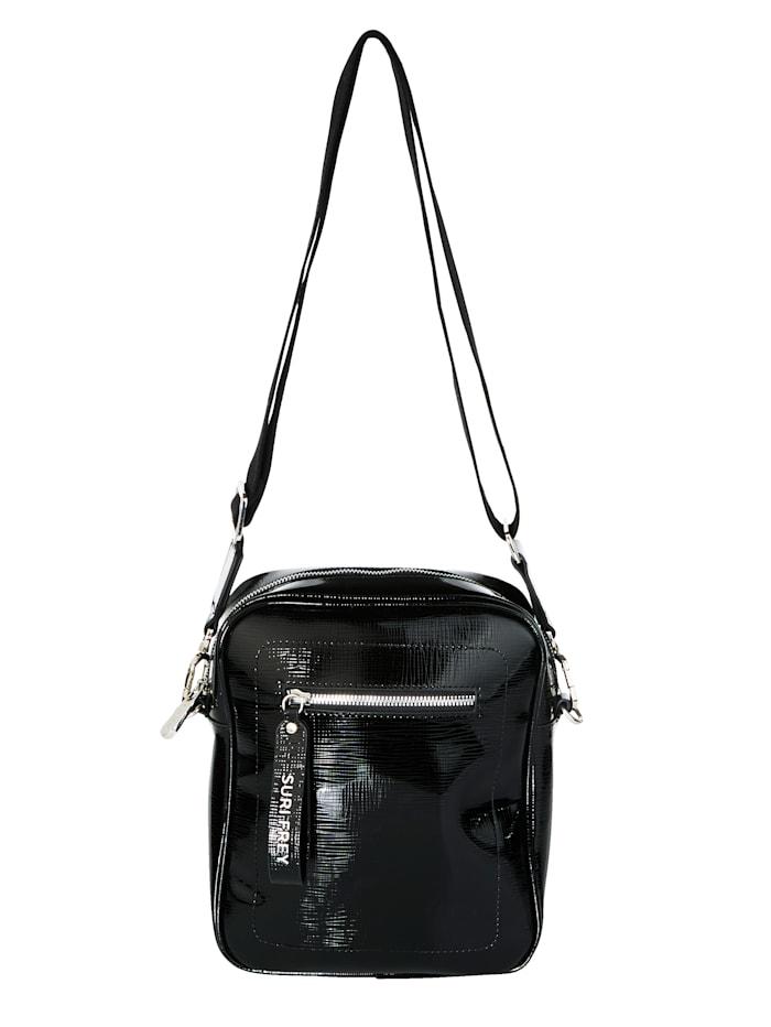 SURI FREY Umhängetasche aus leicht strukturiertem Lackmaterial, schwarz