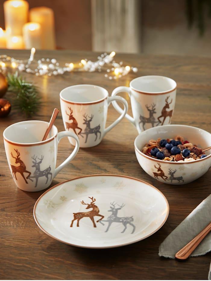 Flirt by Ritzenhoff 3tlg. Frühstückset 'Dancing Deer', weiß/grau/braun
