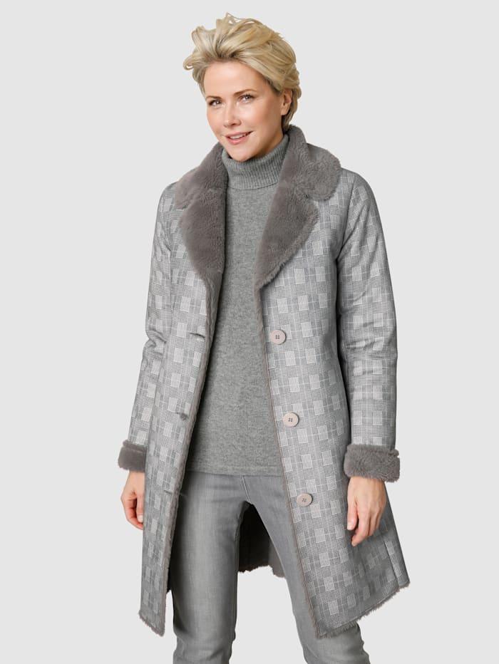 MONA Kožešinový kabát s károvaným vzorem, Šedá