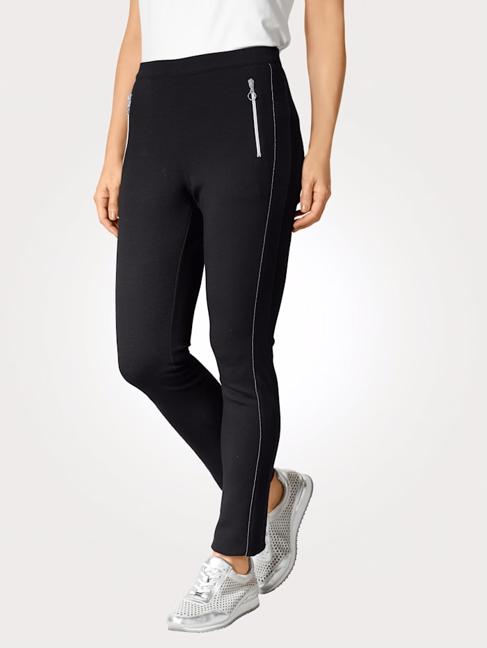 MONA Jersey broek met zilverkleurig sierbandje, Zwart
