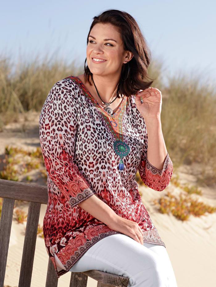 m. collection Longshirt met trendy print, Rood