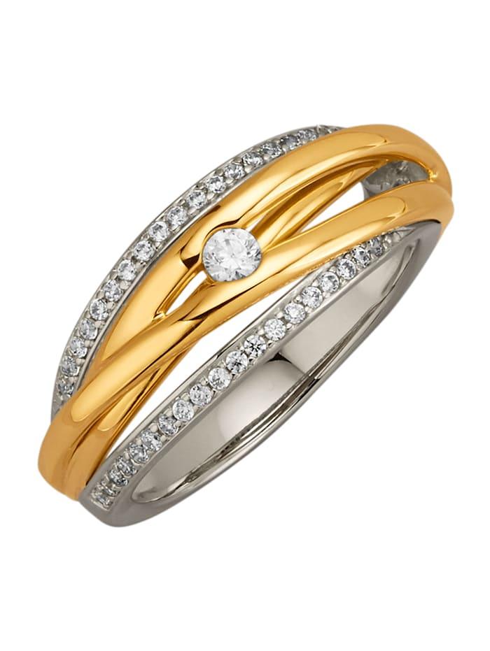 Diemer Diamant Damenring mit 42 Brillanten, Gelbgoldfarben