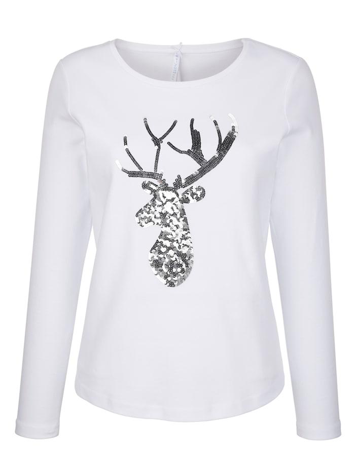 Louis & Louisa T-shirt à motif de tête de cerf pailleté, Blanc/Gris