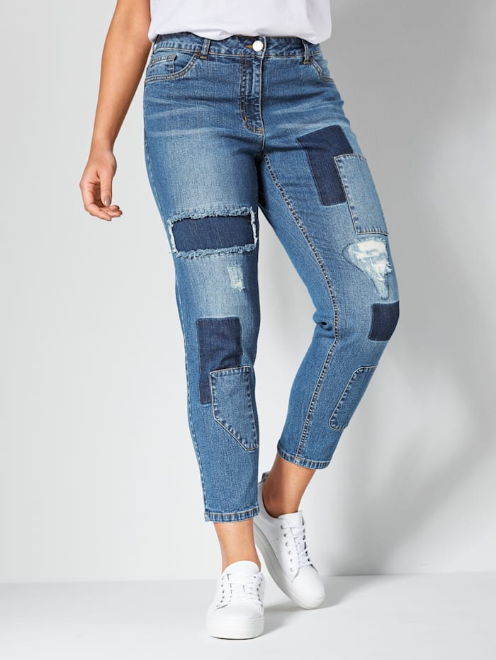Angel of Style Jeans mit Patches vorne, Blue stone