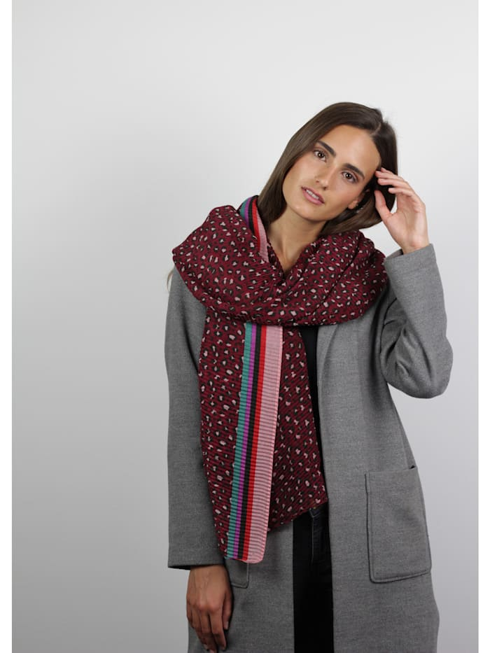 Plissee-Schal mit Leomuster aus recyceltem Polyester
