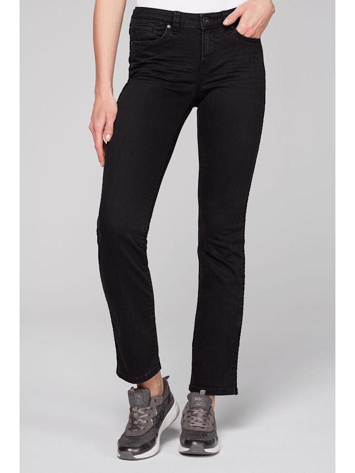 SOCCX Jeans RO:MY mit Samttape an den Seiten, dark grey velvet