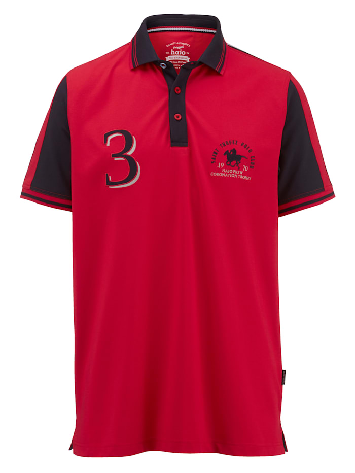 Hajo Poloshirt van merkkwaliteit, Rood/Marine
