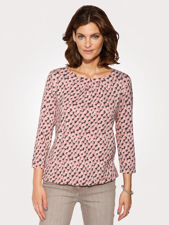 Rabe Shirt met grafisch dessin, Roze/Beige