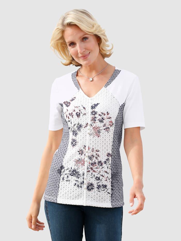 Paola T-shirt avec dentelle imprimée, Blanc/Marine/Bleu ciel