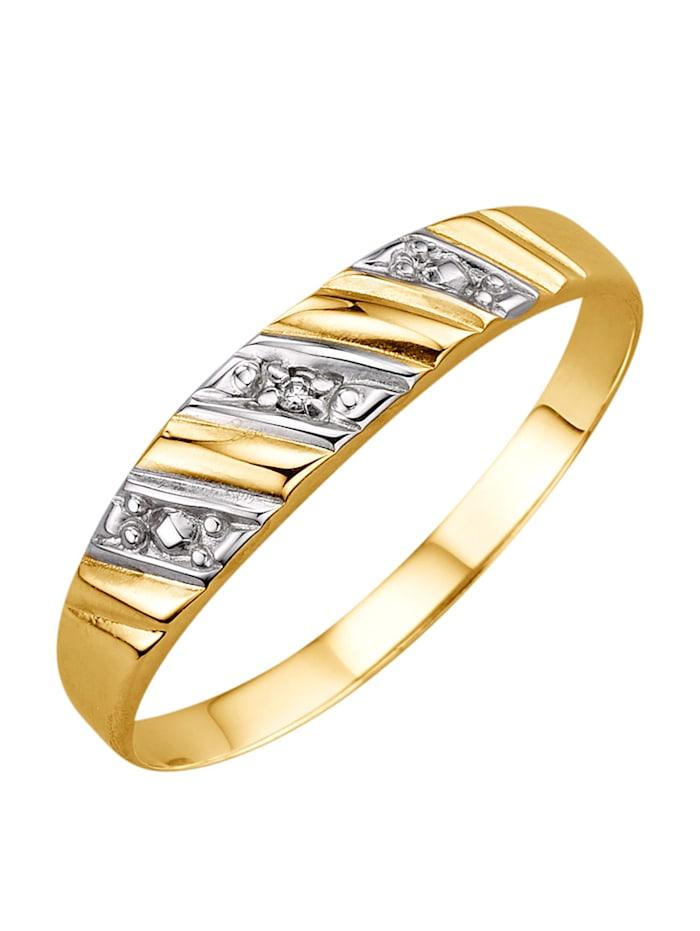 Damenring mit Diamant, Gelb