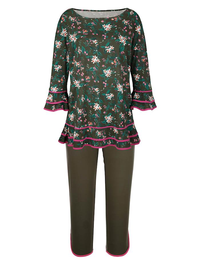 Simone Pyjama met leuke volants aan de mouwzomen, Olijf/Fuchsia/Perzik