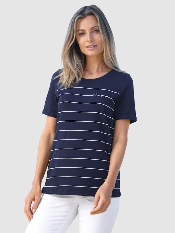 basically you Shirt mit kleinem Schriftzug, Marineblau/Weiß