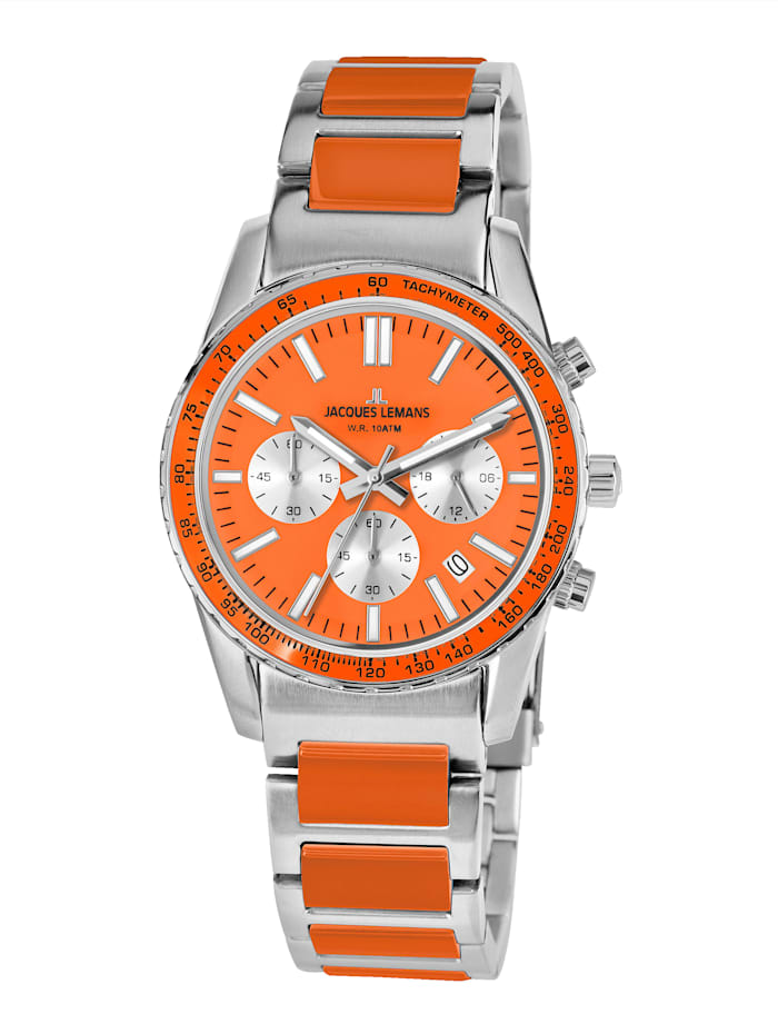 Jacques Lemans Unisex-Uhr Chronograph Serie: Liverpool, Kollektion: Sport Hinweis 1-2059L, Silberfarben/Orange