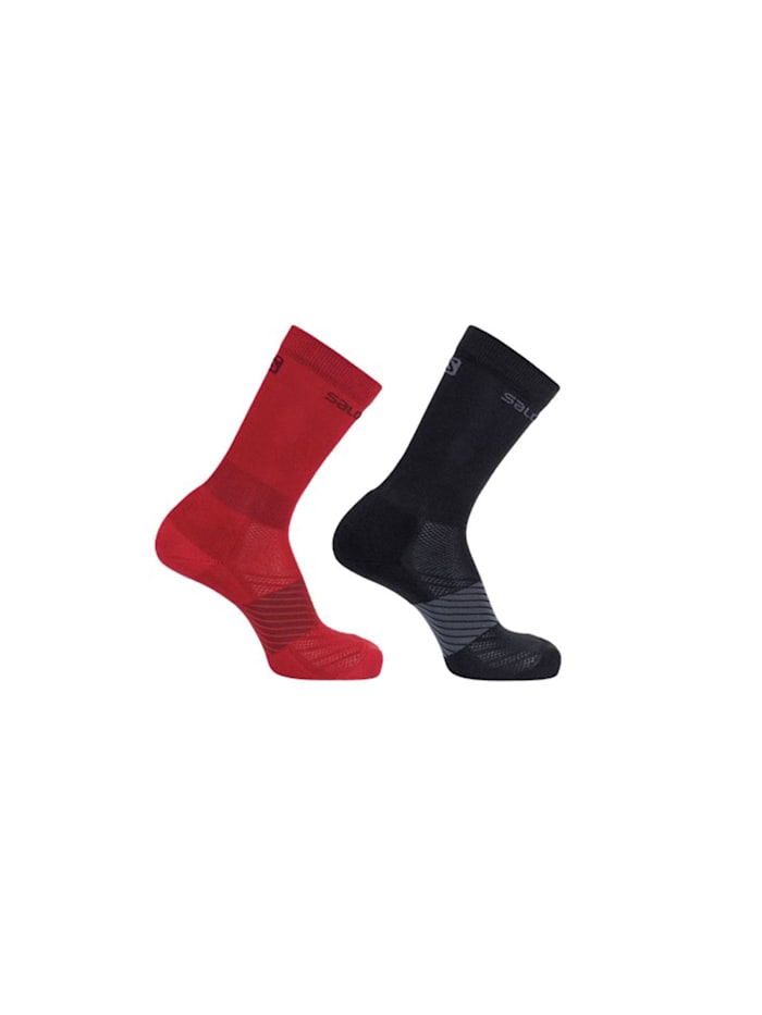 Salomon Trail Running Socken 2er-Pack in dezentem Design, Goji berry/black