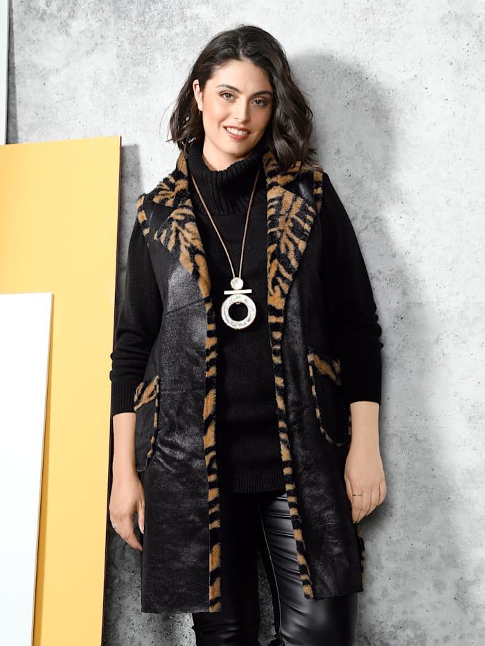 MIAMODA Keerbaar vest met een kant van imitatieleer en een kant met animaldessin, Zwart/Bruin
