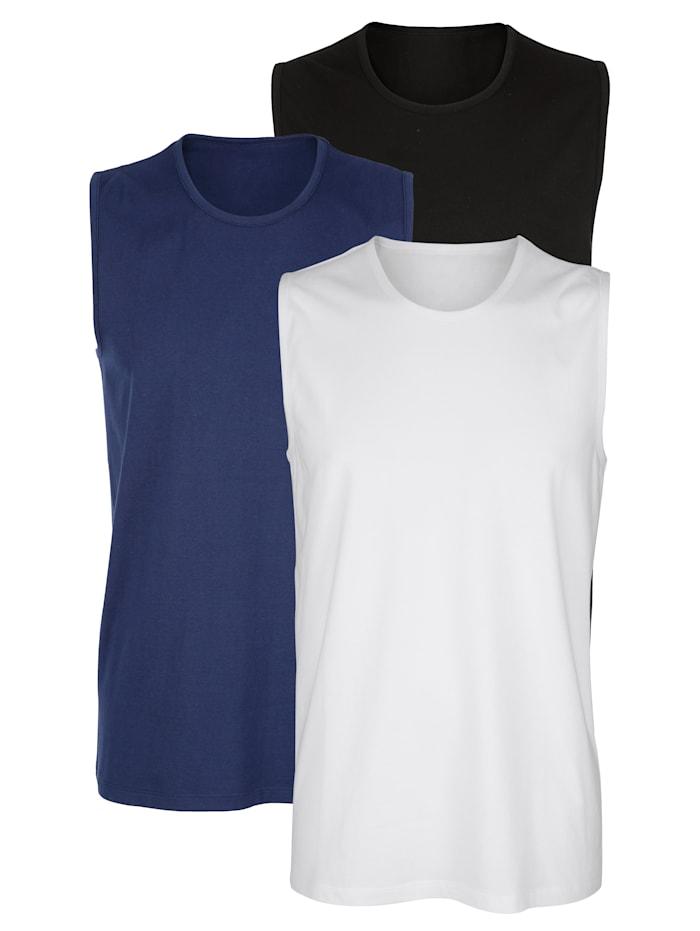 Mouwloze shirts van organic cotton 3 stuks, 1x marine, 1x wit, 1x zwart