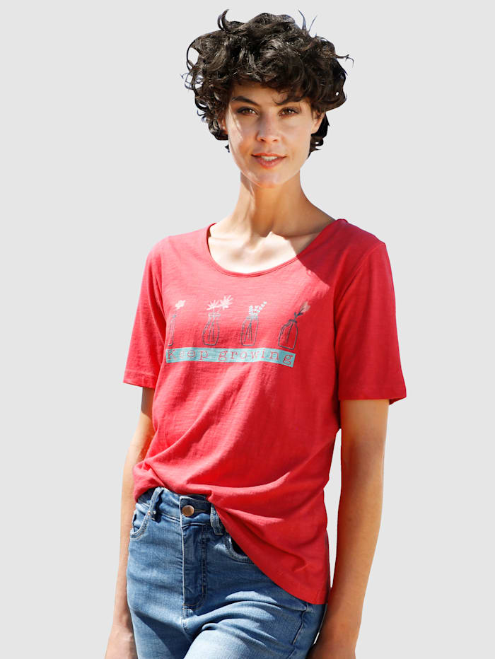 Dress In Shirt mit schönem Druck, Rot