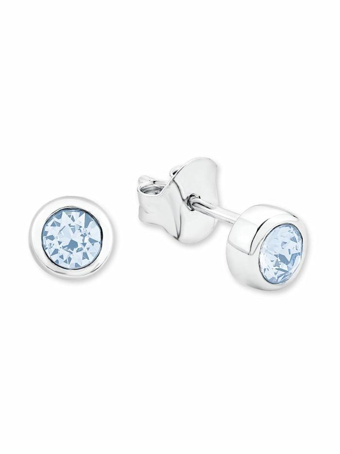 amor Ohrstecker für Damen, Sterling Silber 925, Kristallglas, Blau