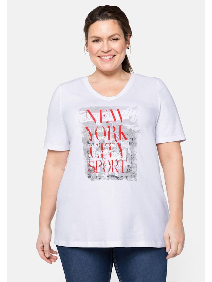 Sheego T-Shirt mit V-Ausschnitt und Frontdruck, weiß bedruckt