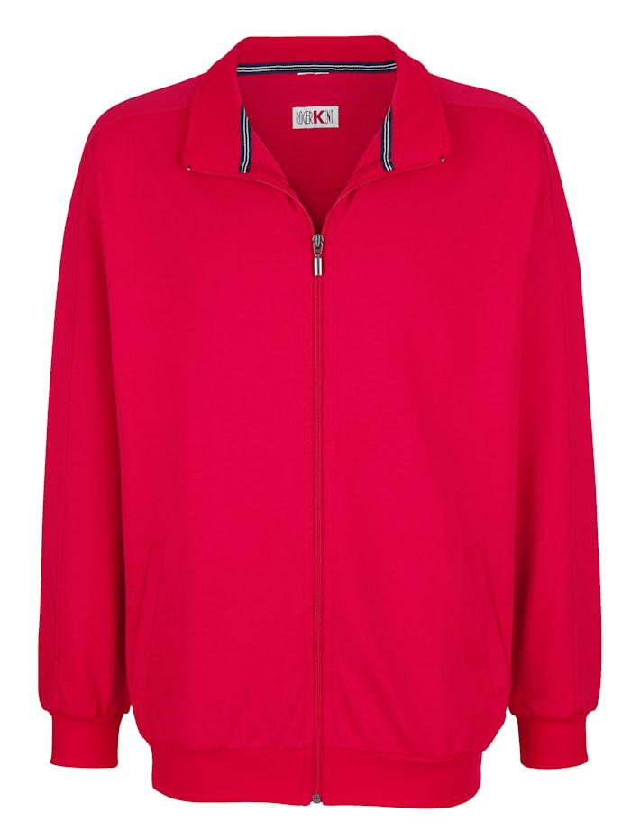 Roger Kent Sweatshirtjacka med fickor, Röd