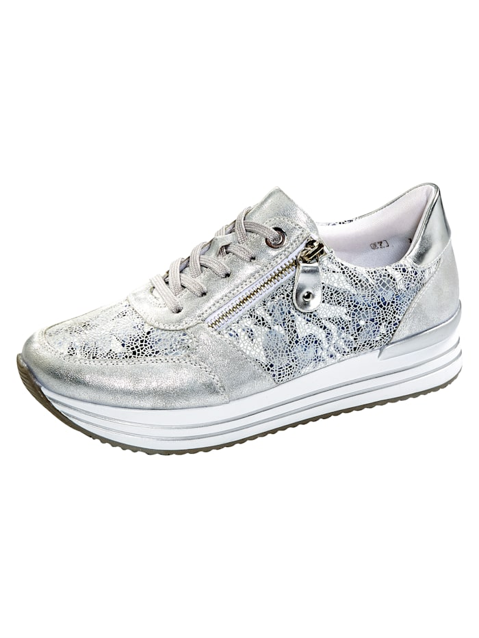 Remonte Sneakers à glissière fantaisie, Coloris argent
