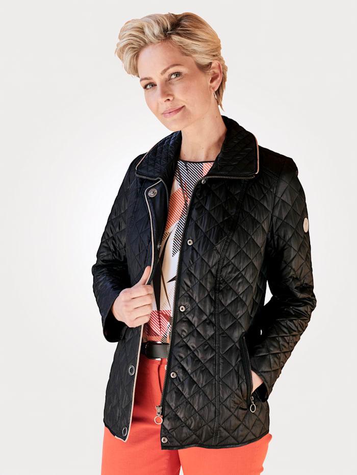 Barbara Lebek Gewatteerde jas met stiksels, Zwart