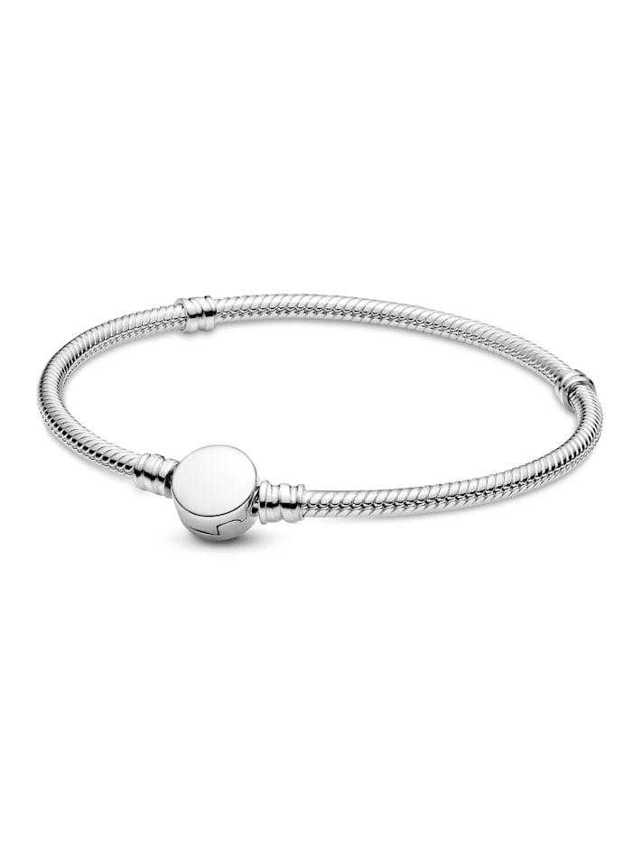 Pandora Armband -Schlangenkette mit gravierbarem Scheibenverschluss 599381C00-21, Silberfarben