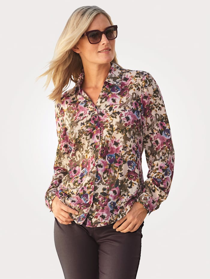 MONA Blouse with a gorgeous print, Olive/Fuchsia/Sand