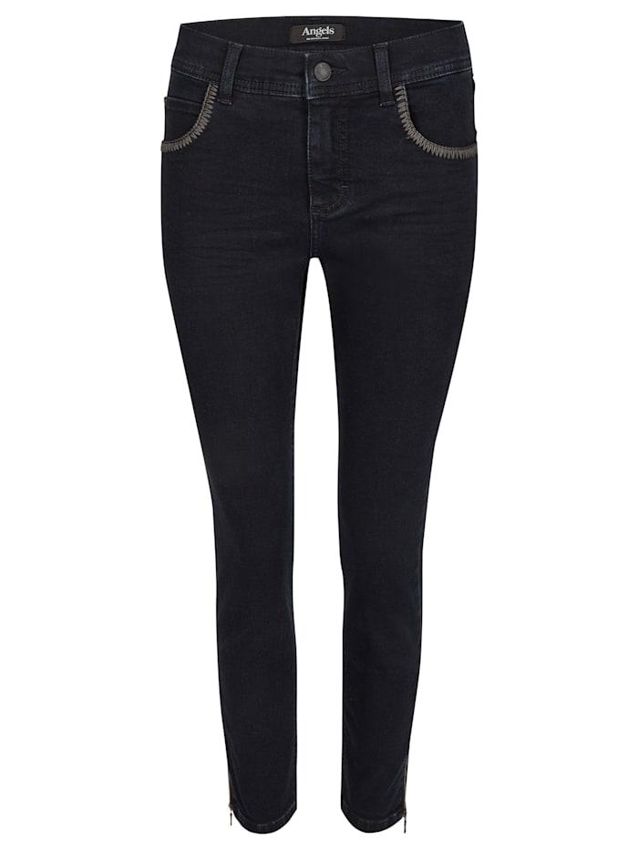 Angels Jeans 'Ornella Zip Stitch' mit auffälligen Ziernähten, night blue