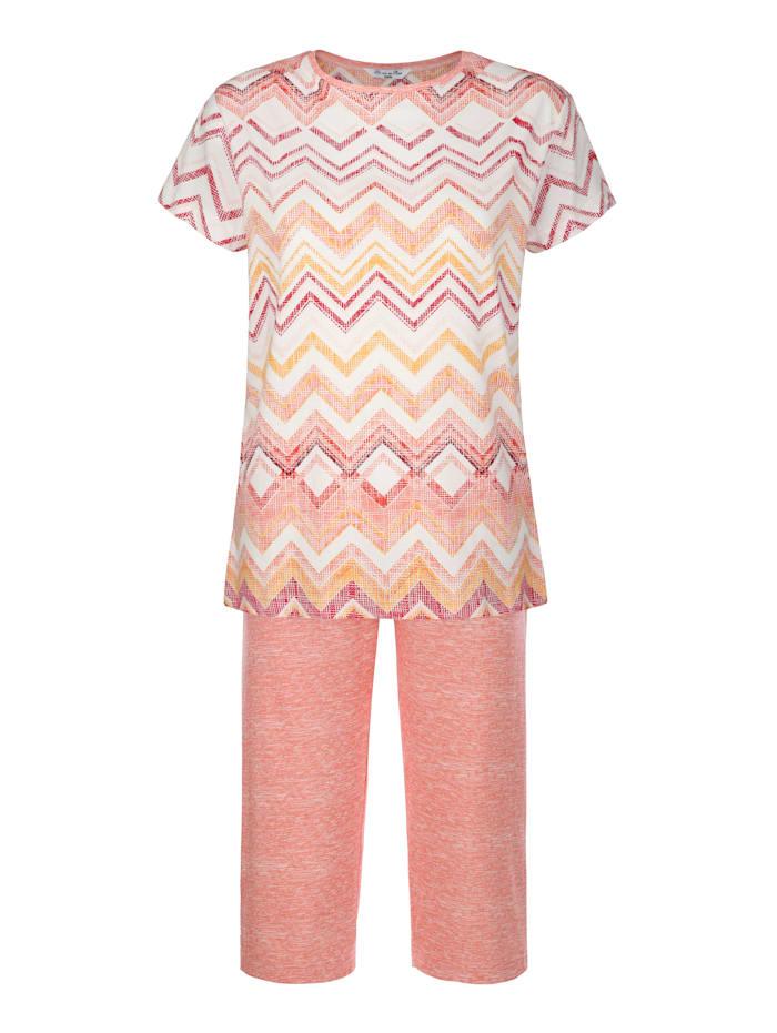 Hajo Pyjama agréable apport de tencel, Écru/Brique/Jaune maïs