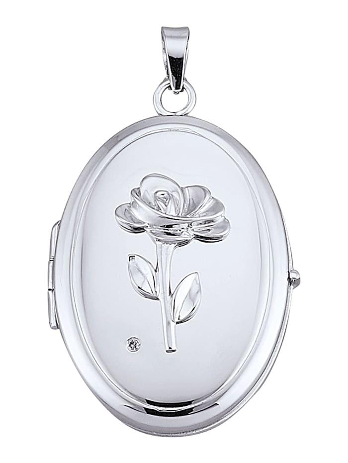 AMY VERMONT Medaljonghänge med diamant, Silverfärgad