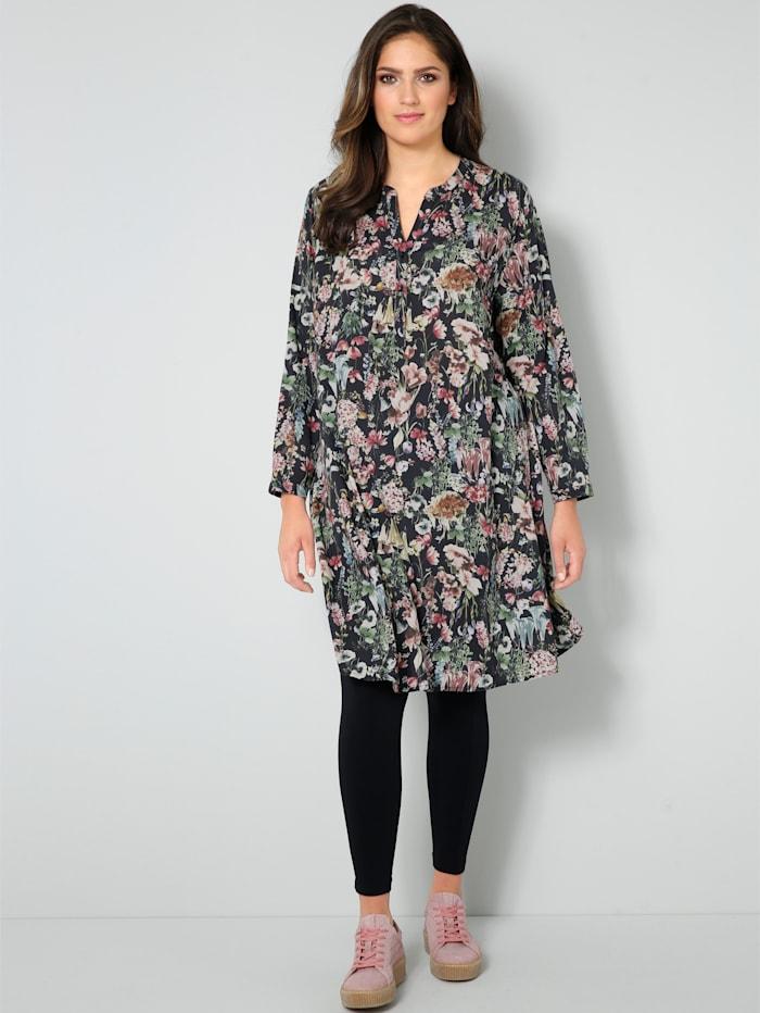 Janet & Joyce Web-Kleid mit floralem Dessin, Schwarz/Rosenholz