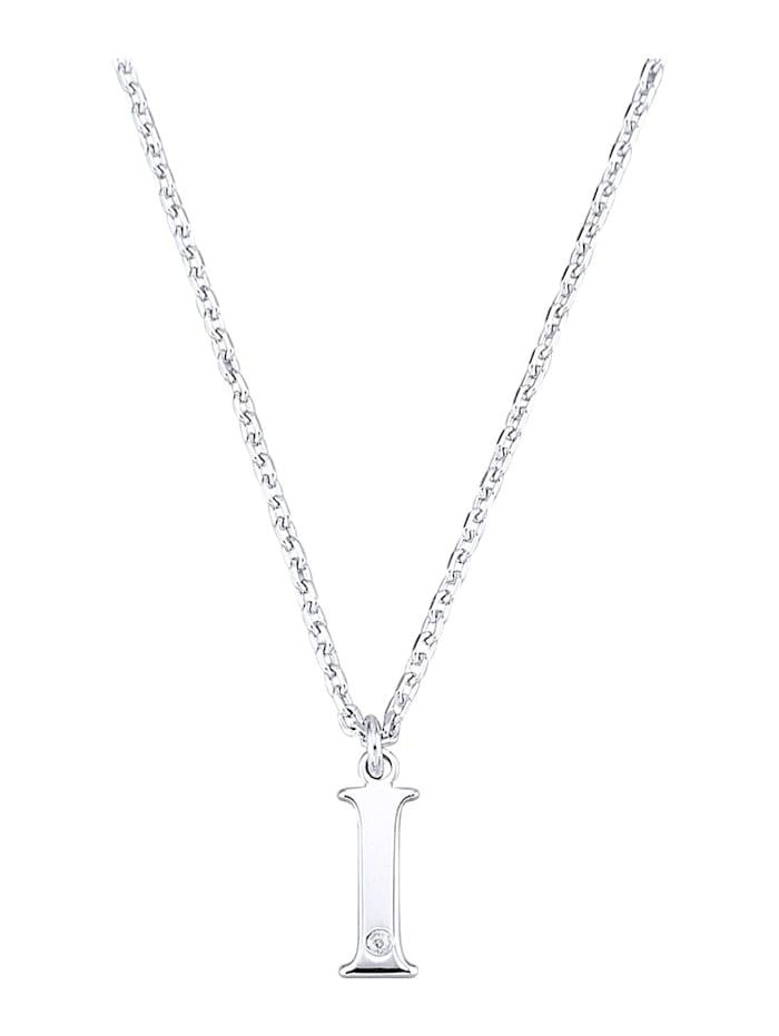 Halsband med bokstavshänge – I med diamant, Silverfärgad