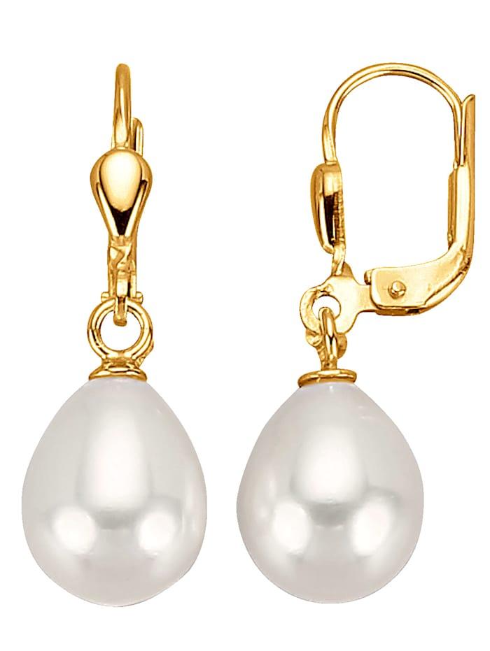 Diemer Perle Ohrringe mit Süßwasserzuchtperlen, Weiß