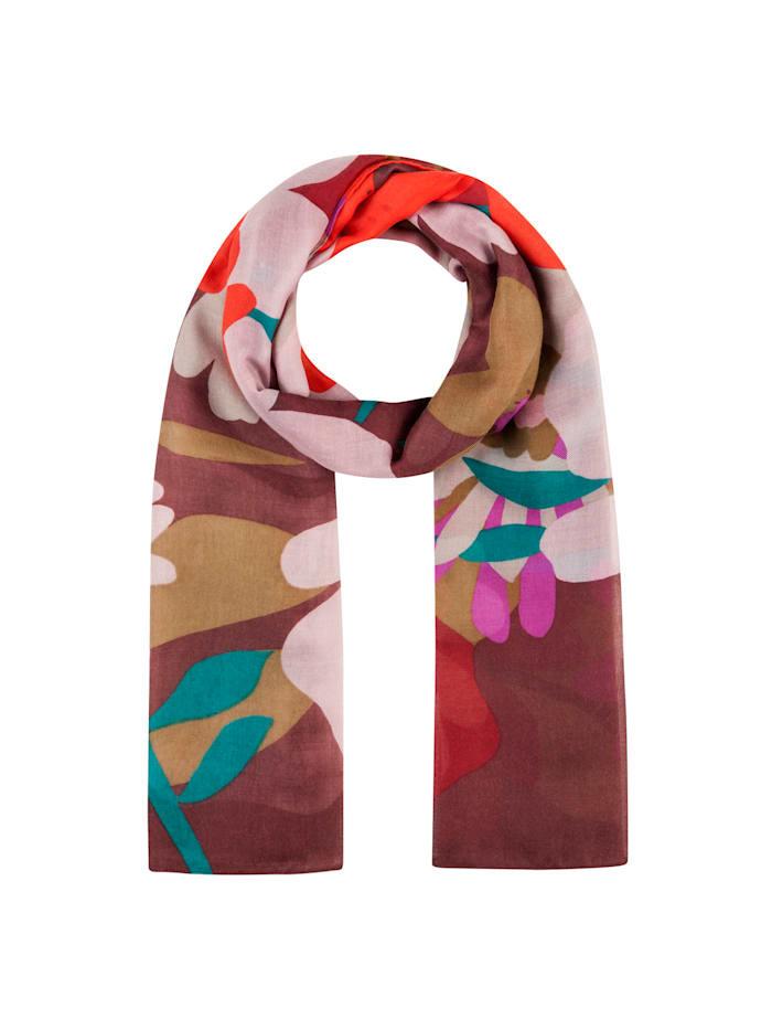 Codello XL-Schal mit Flower-Print aus recyceltem Polyester, dark rose