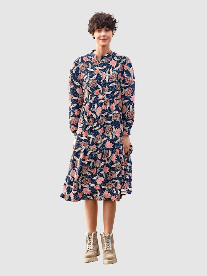 Dress In Kleid mit Allover Druck, Marineblau