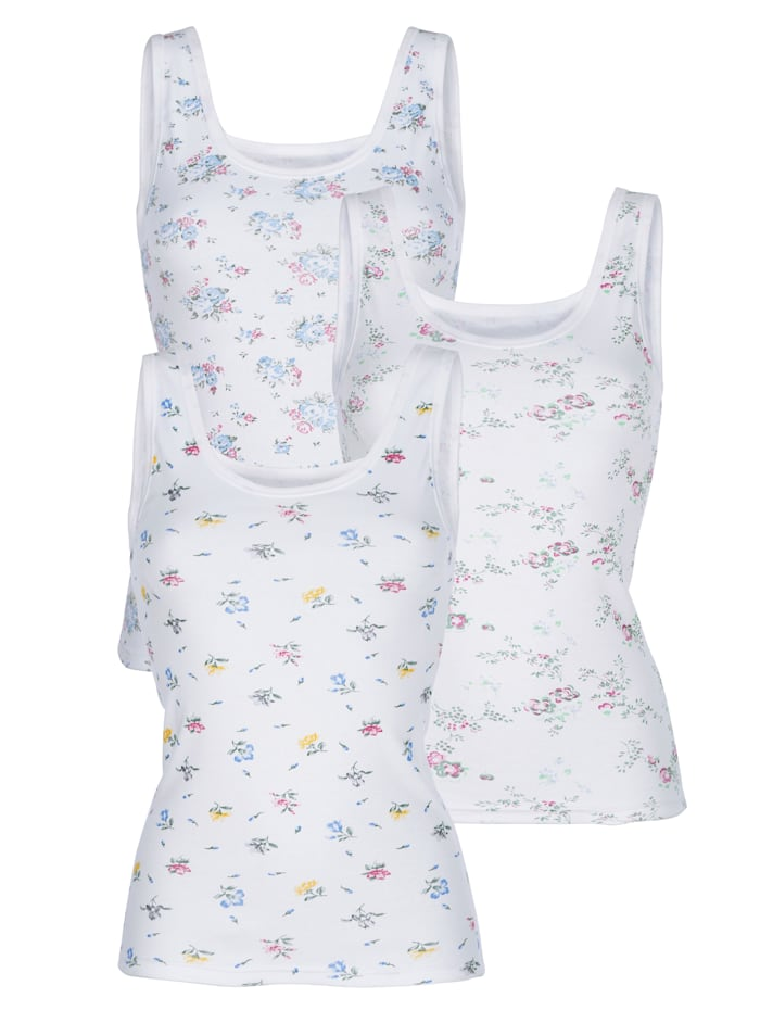 Harmony Hemdje met drie verschillende prints, Wit/Groen/Pink