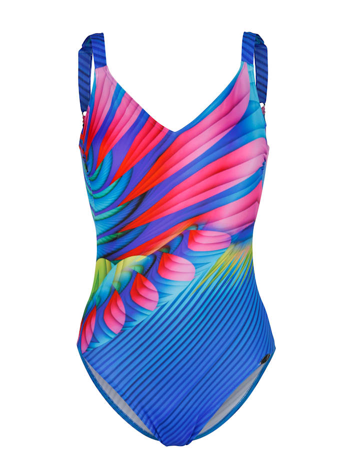 Sunflair Badpak met print in regenboogkleuren, Blauw
