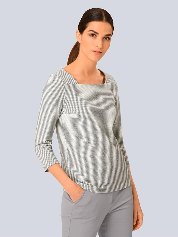 Alba Moda Shirt van mooi gestructureerd materiaal, Grijs/Offwhite