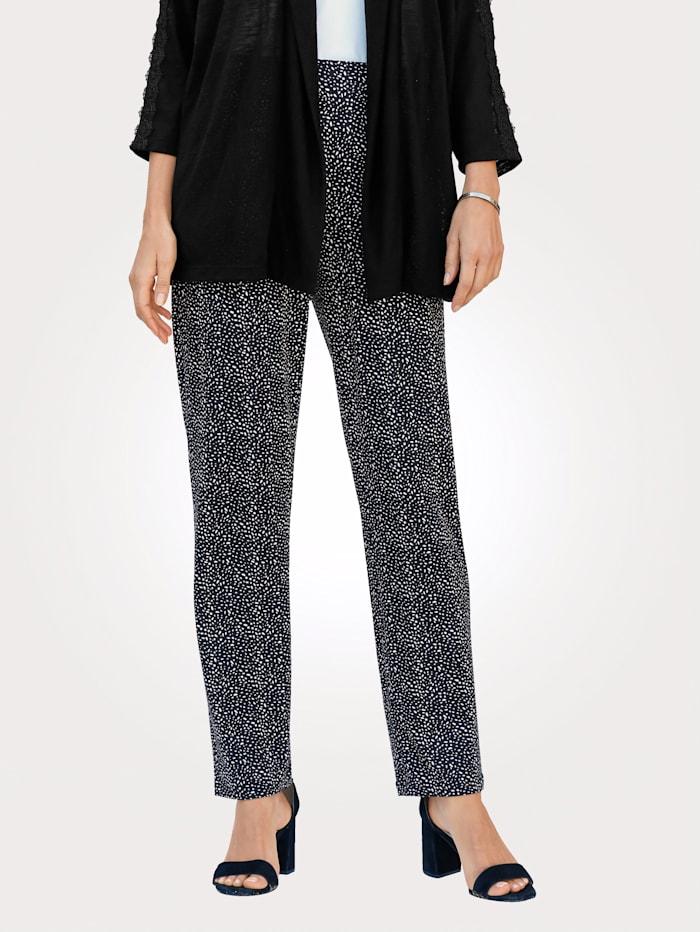 MONA Jerseyhose mit sommerlichem Tupfen-Dessin, Schwarz/Weiß