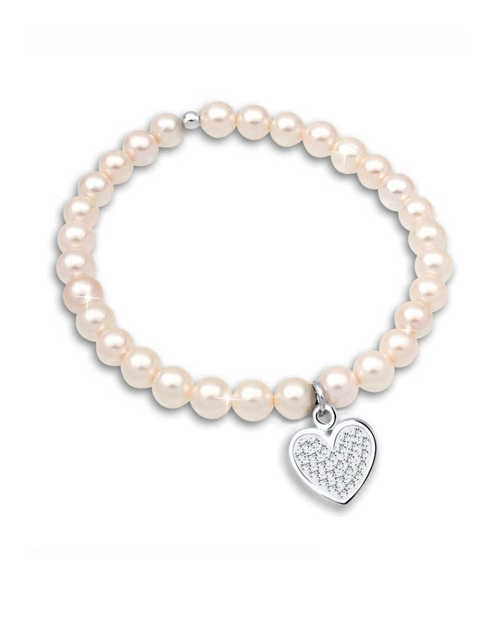 Armband Herz Perle Kristalle 925 Silber