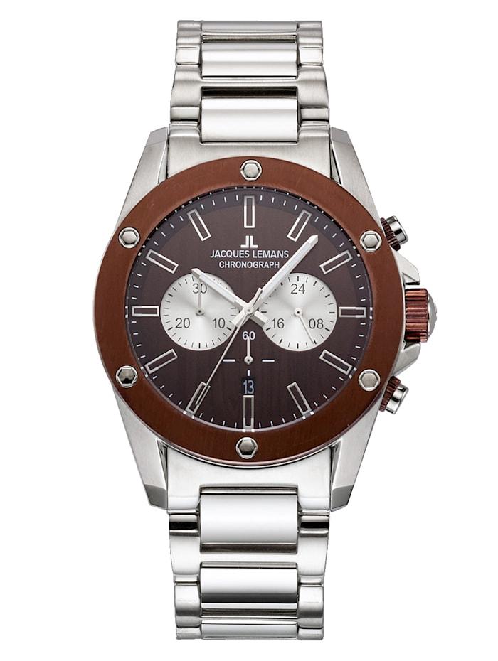 Jacques Lemans Herren-Uhr Chronograph, Silberfarben/Braun