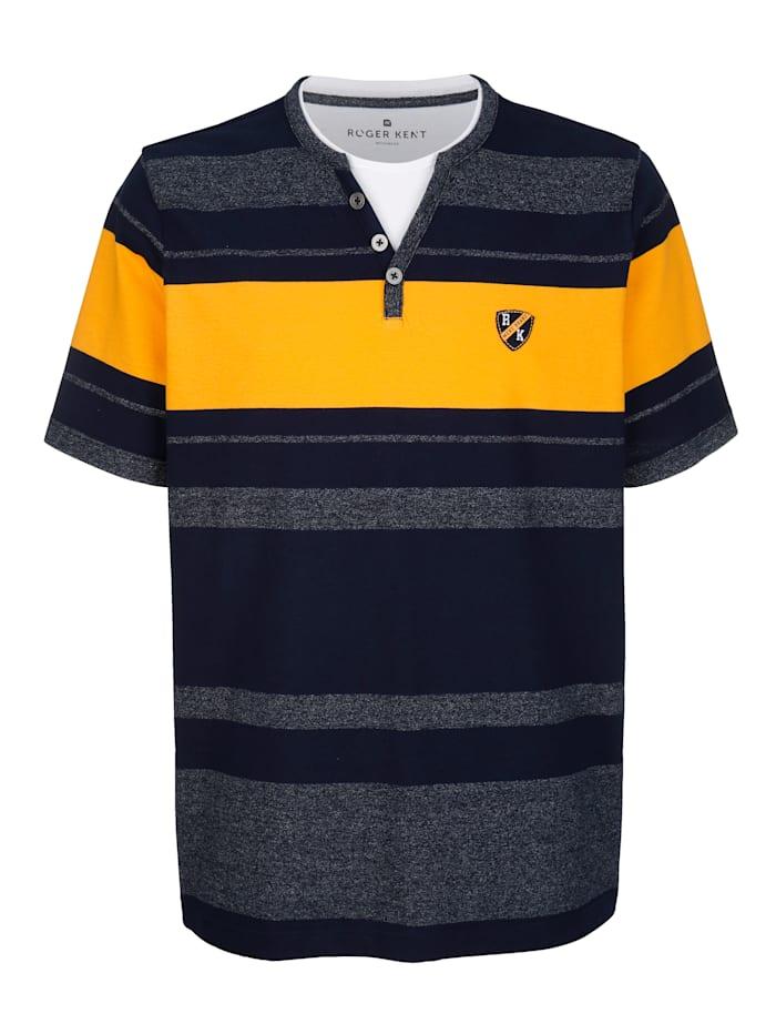 Roger Kent Shirt met ingebreid streeppatroon rondom, Marine/Geel