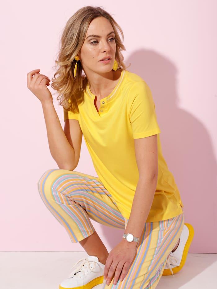 AMY VERMONT Shirt mit Dekoplättchen, Gelb